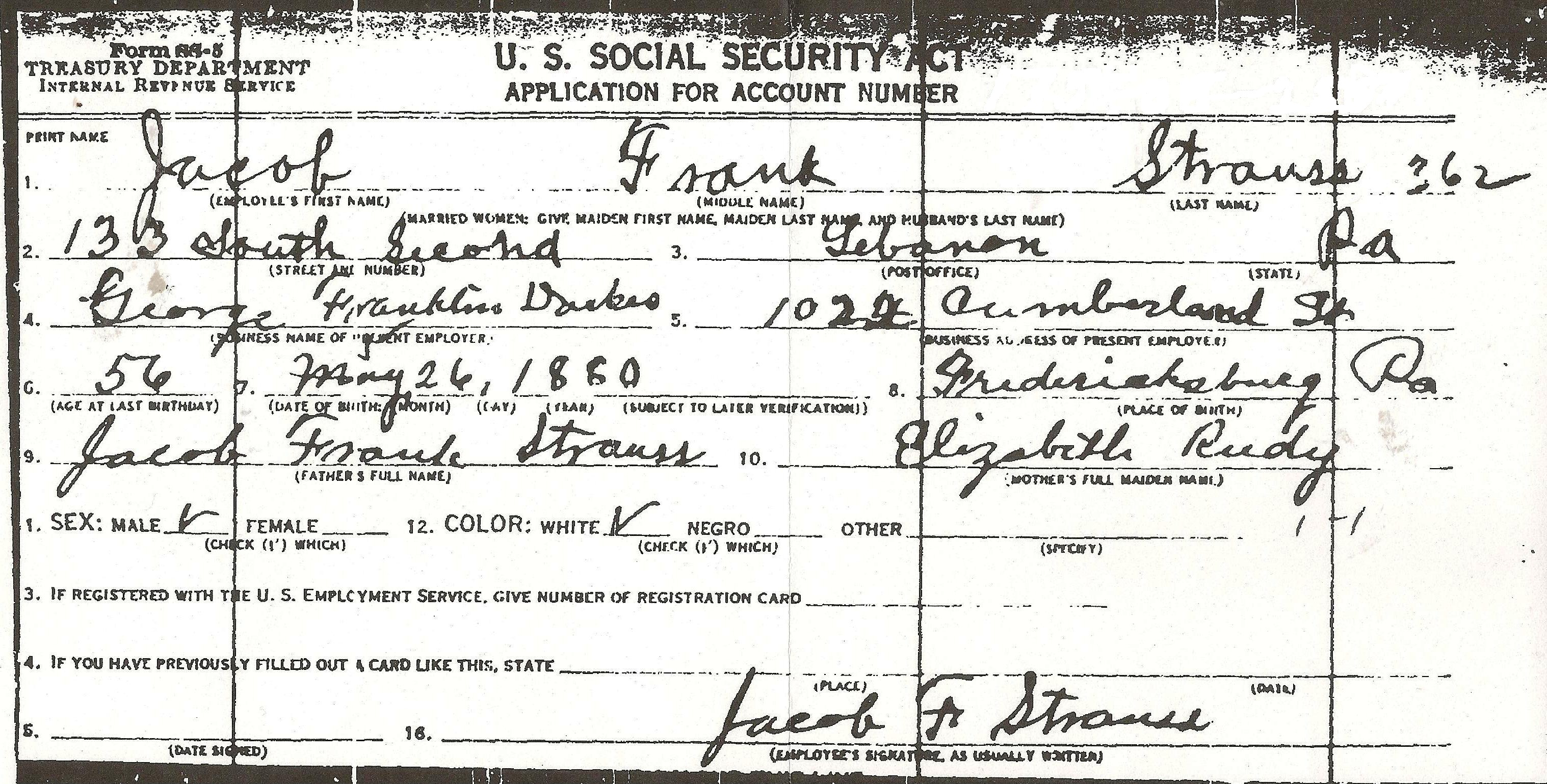 Requesting your Ancestor's SS-5 Social Security Application ...